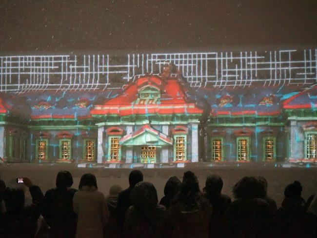 弘前公園的大雪投影地圖 今年是前弘前會長社